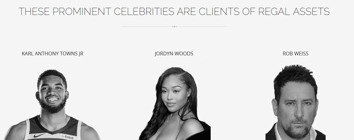 celebrity clients that use regal assets